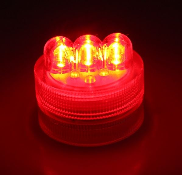 Led battery operated submersible 3 bulb twist light red for Battery operated lights for craft booth