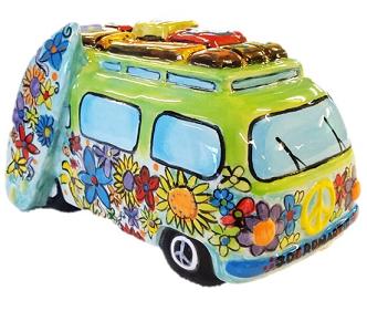 Hippie Surfer Van Figurine