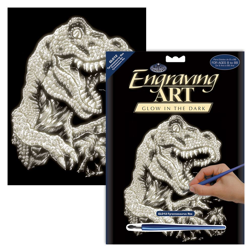 GLO12-Tyranosaurus Rex Glow in the Dark Engraving Kit
