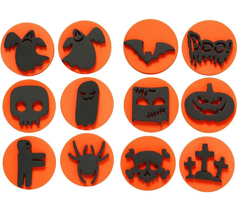 foam stamps halloween 75cm 12 assorted