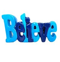 5149 Believe Word Plaque white background