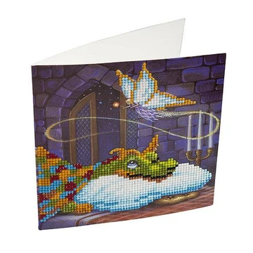 CCK-A6 Dragon and the Cookie Fairy Crystal Art Card Kit finished