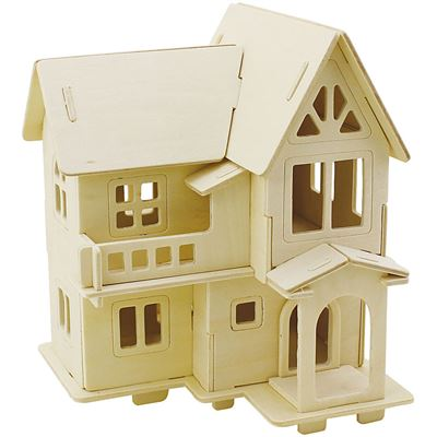 CH57877 3D Wooden Construction Kit - House with Balcony