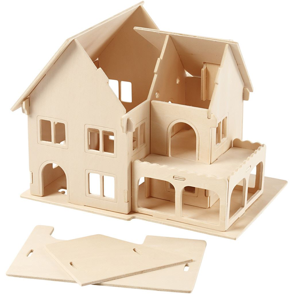 CH57876 3D Wooden Construction Kit - House with Veranda -semi constructed