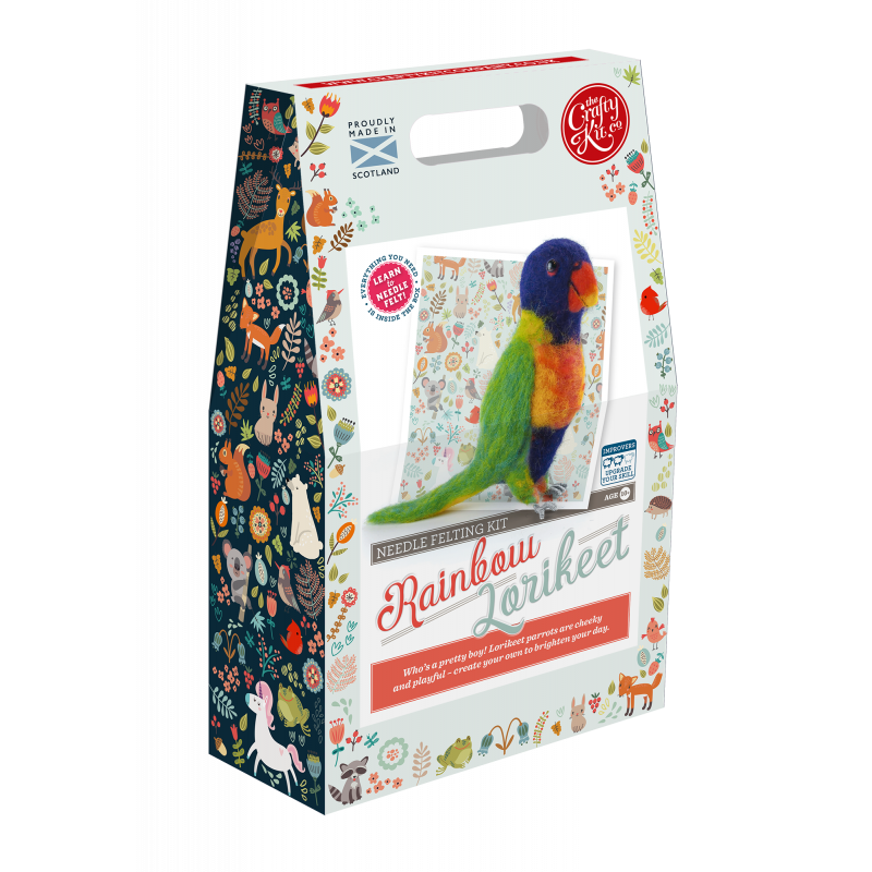 Rainbow Lorikeet Needle Felting Kit box