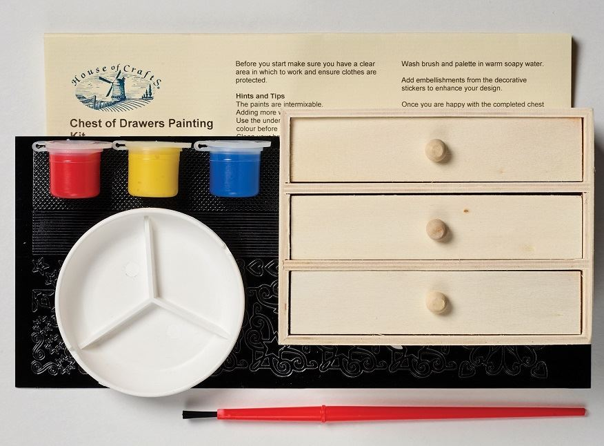 HC630-Chest of Drawers Painting Craft Kit contents