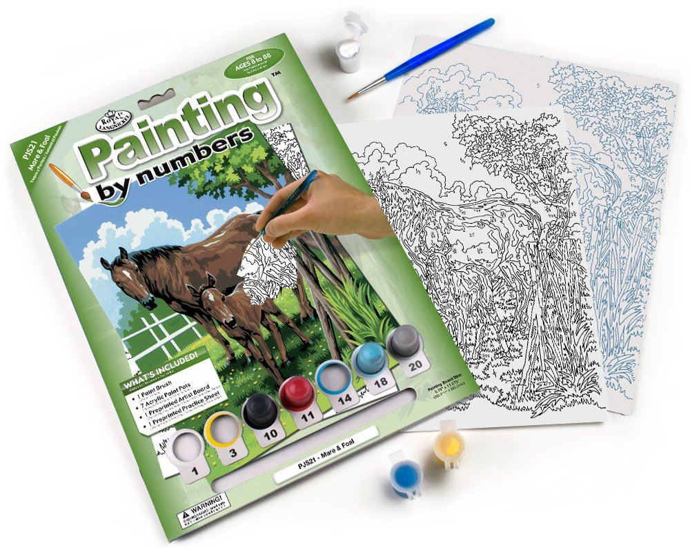 PJS21-Mare and Foal Painting by Numbers Kit contents