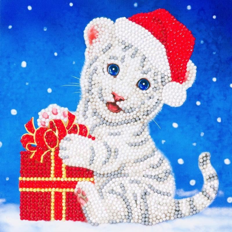 Christmas White Tiger - Crystal Art Card 18 x 18cm