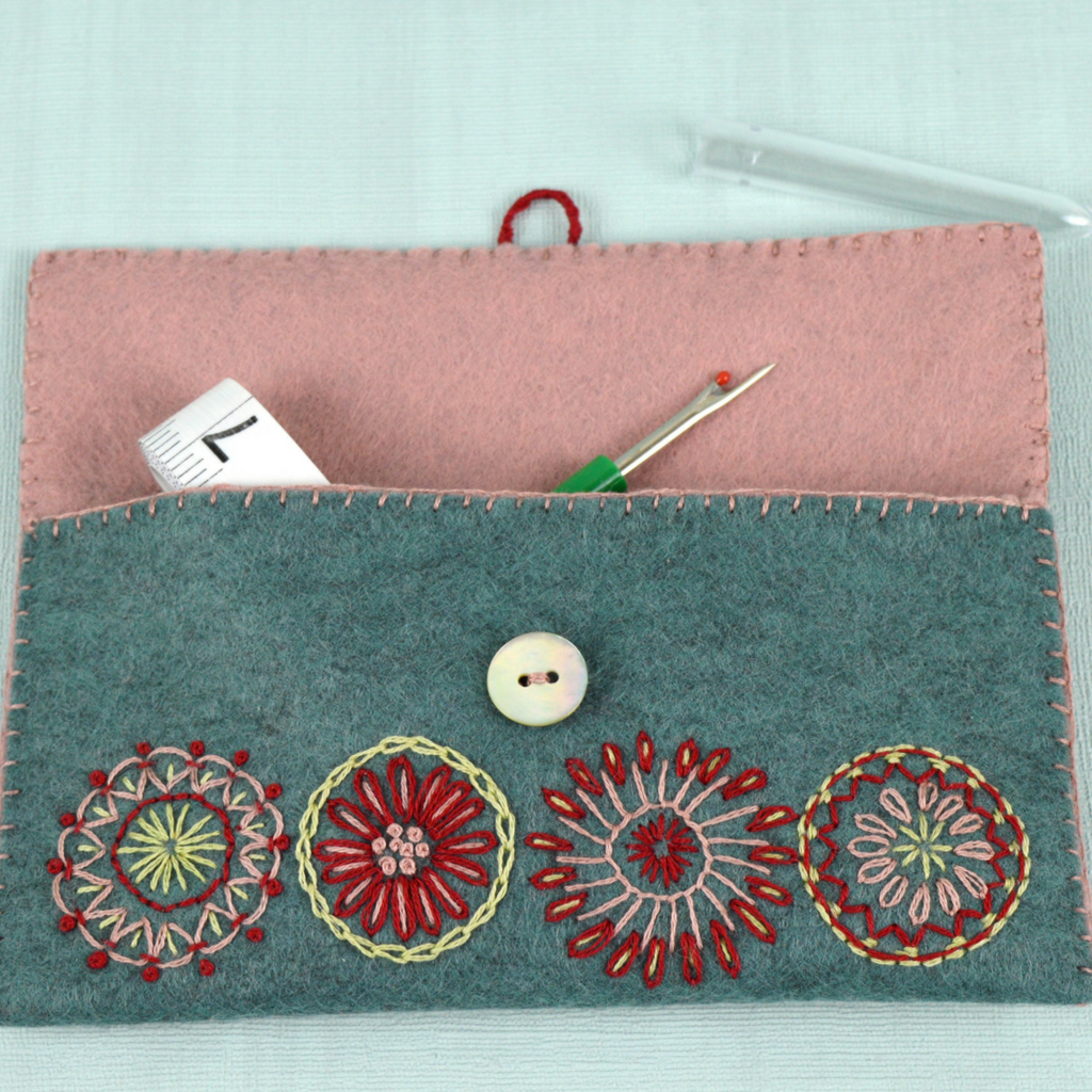 Sewing Pouch Embroidery Kit and contents