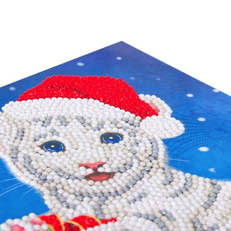 CCK-XM57 Christmas White Tiger - Crystal Art Card closeup