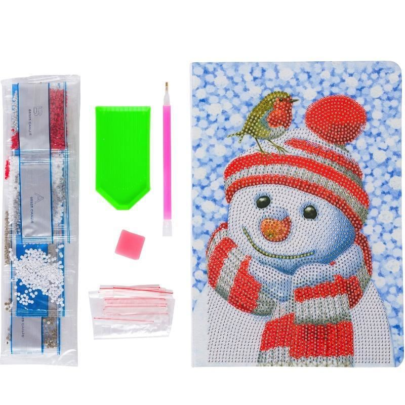 CANJ-6 Friendly Snowman - Crystal Art Christmas Notebook contents