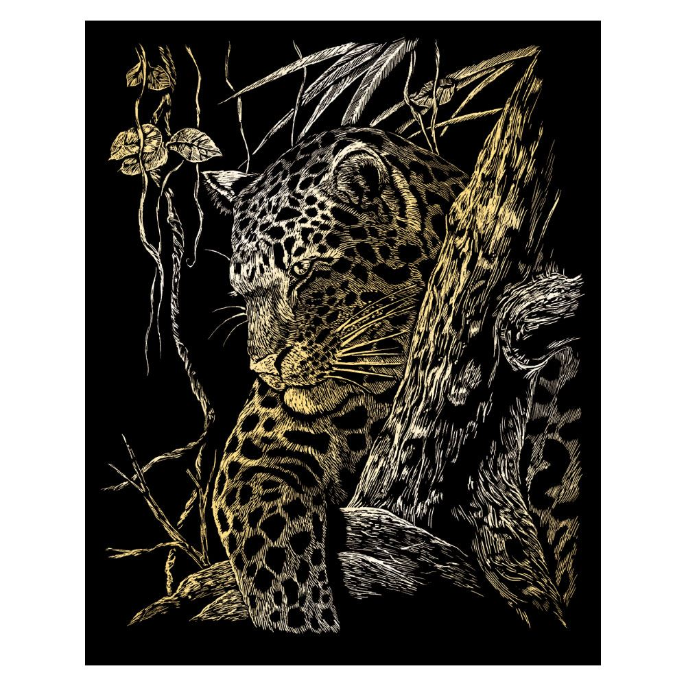 GOLF21-Leopard in Tree Engraving Kit Gold