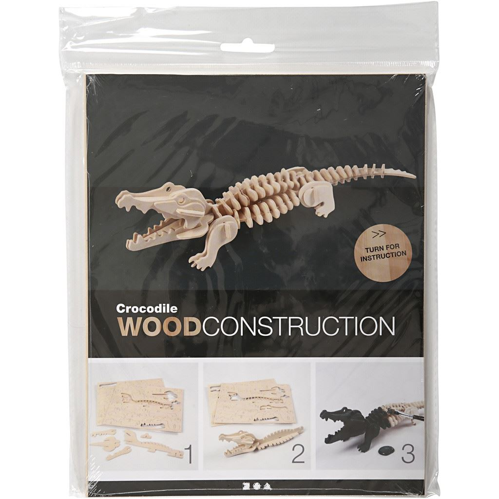 CH57863 3D Wooden Construction Kit - Crocodile