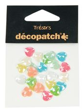 BJ024 Pastel Pearl Hearts- Decopatch Gems Pack of 24