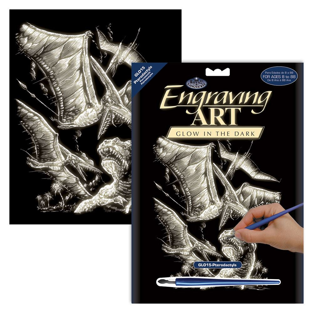 GLO15-Pterodactyls Glow in the Dark Engraving Kit
