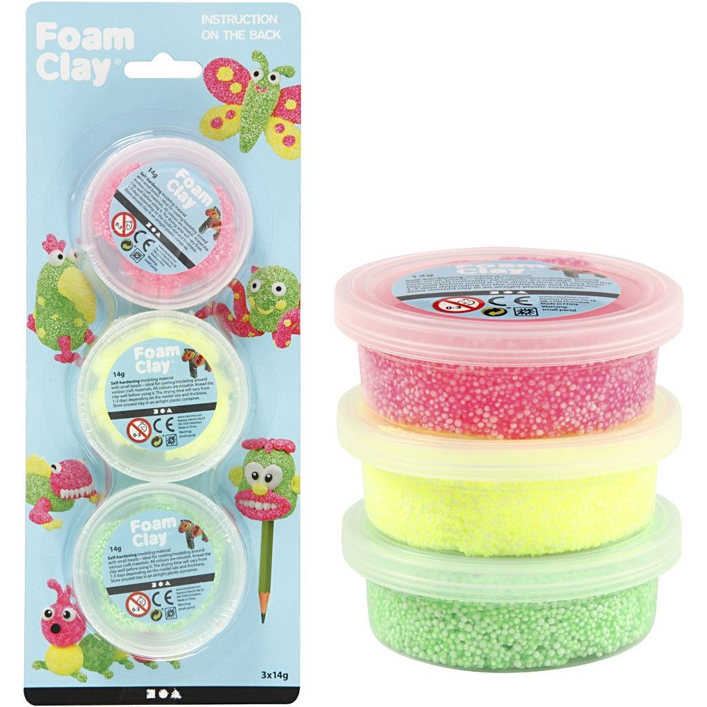 CH78141 Foam Clay Triple Pack 3 x 14g yellow green pink