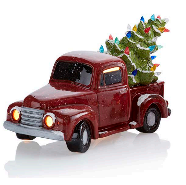 Vintage Truck with Tree Lit Up