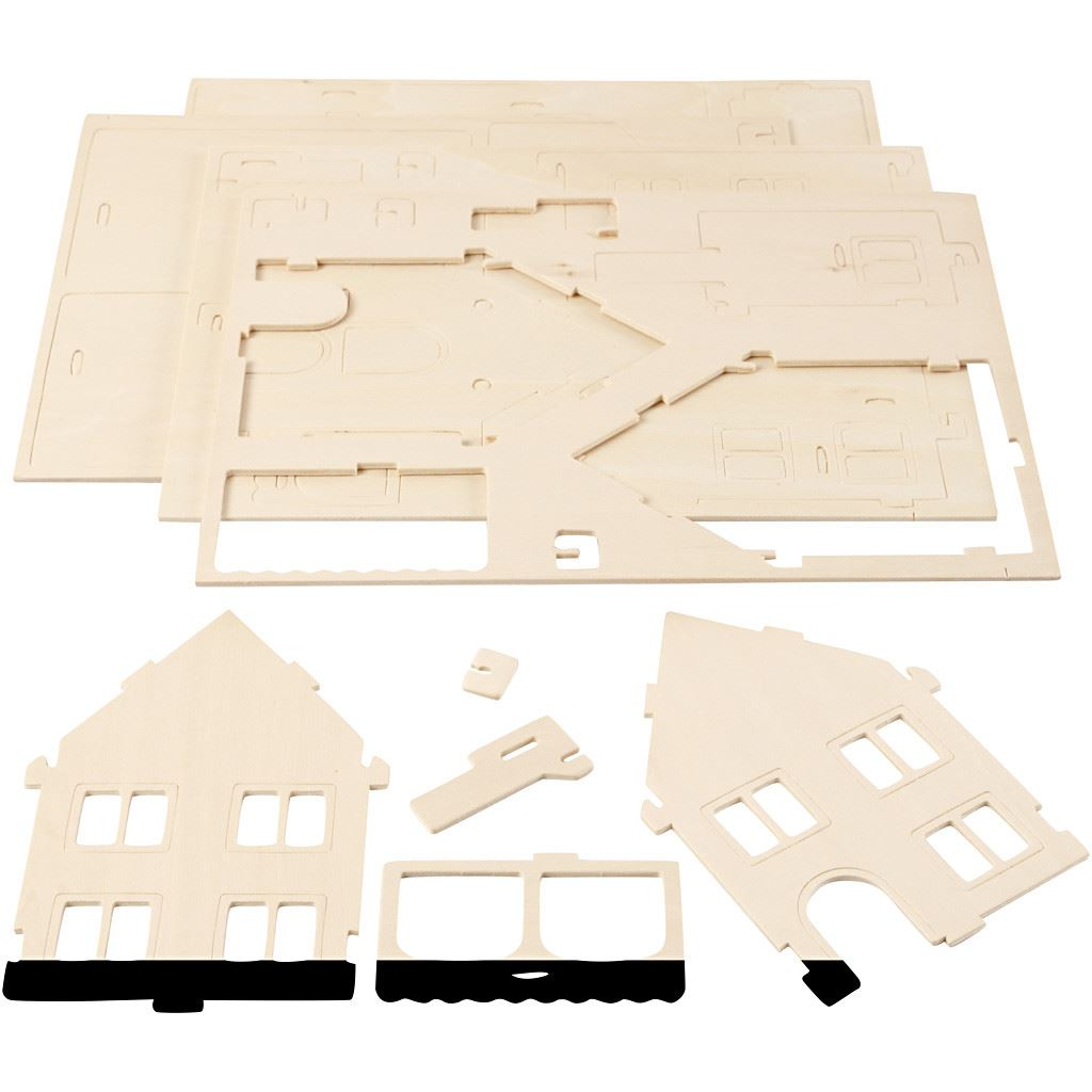 CH57876 3D Wooden Construction Kit - House with Veranda pieces