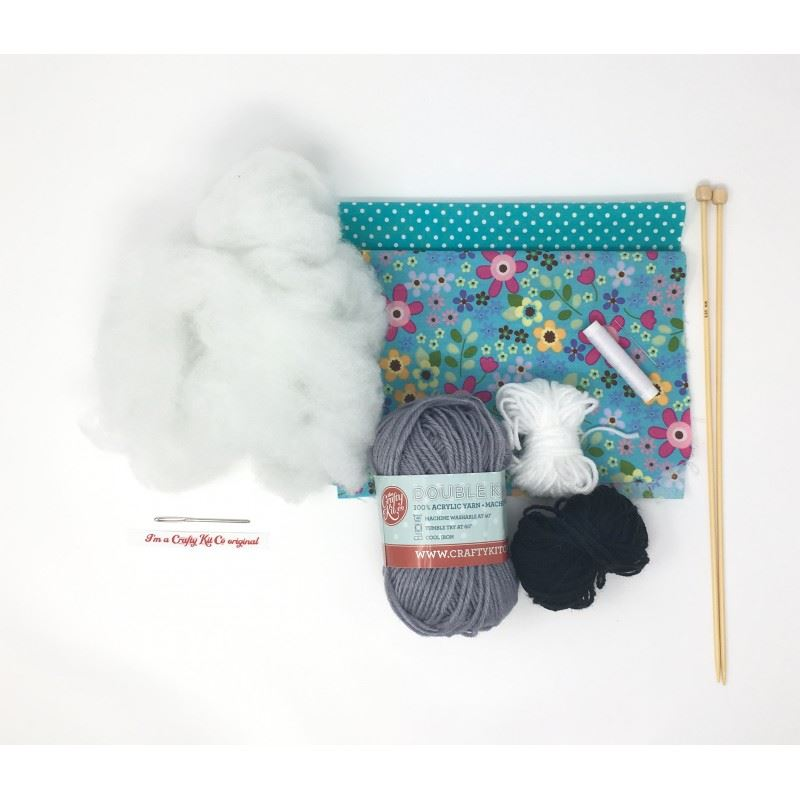 Knit Your Own Bunnies knitting kit contents