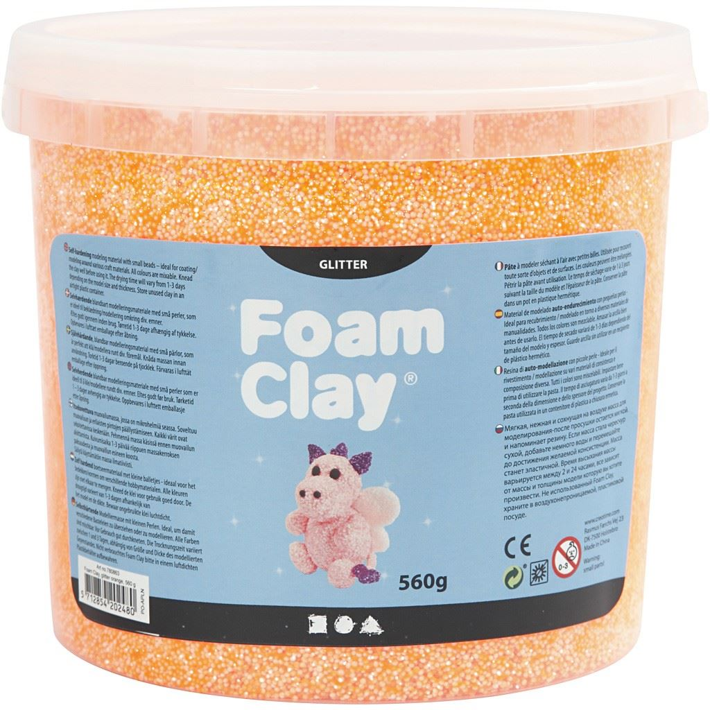 780863 Orange Glitter Foam Clay 560g