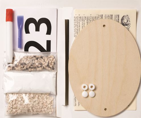 Mosaic House Number Kit contents