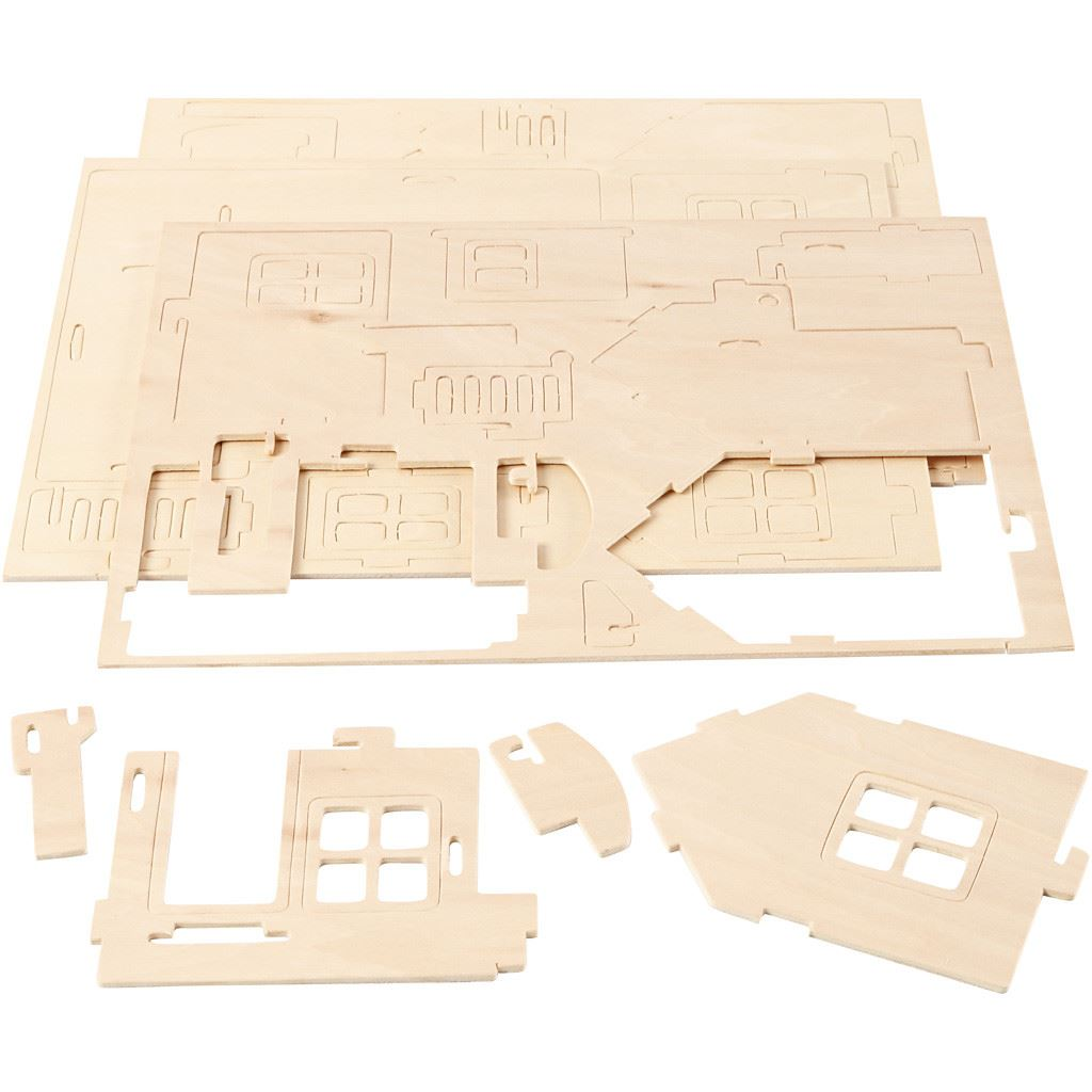 CH57875 Wooden Construction Kit- House with Terrace -flat packed