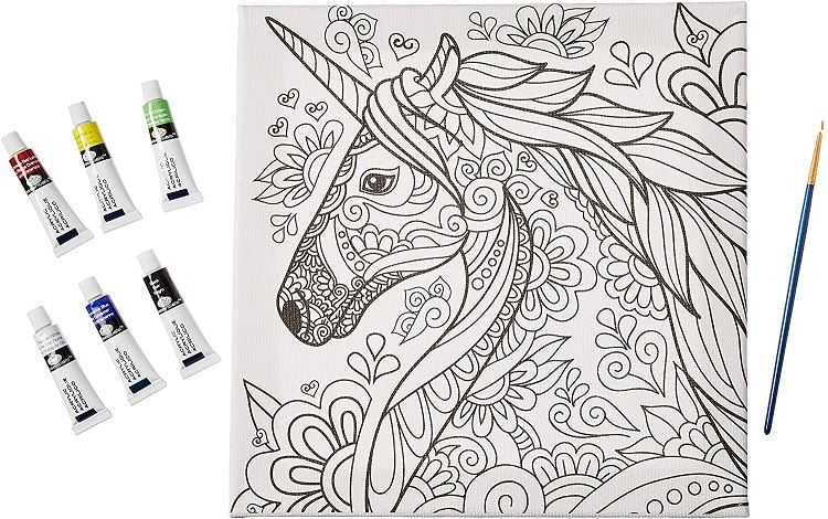 RTN251 Unicorn Canvas Art and paints