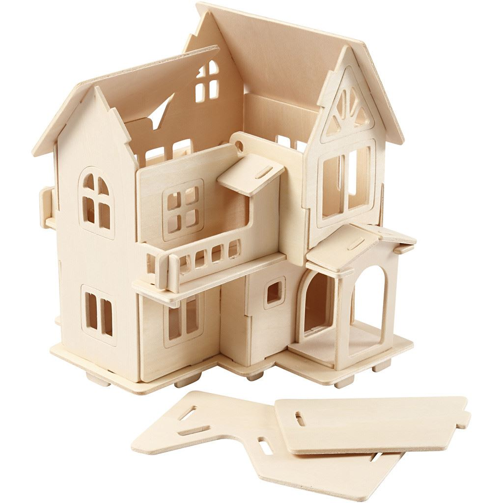 CH57877 3D Wooden Construction Kit - House with Balcony semi constructed