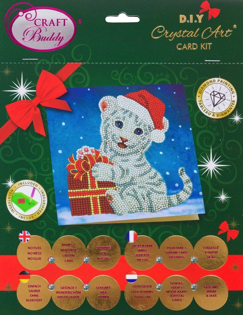 CCK-XM57 Christmas White Tiger - Crystal Art Card packaging