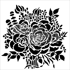 TCW823 Rose Bouquet Acrylic Craft Stencil