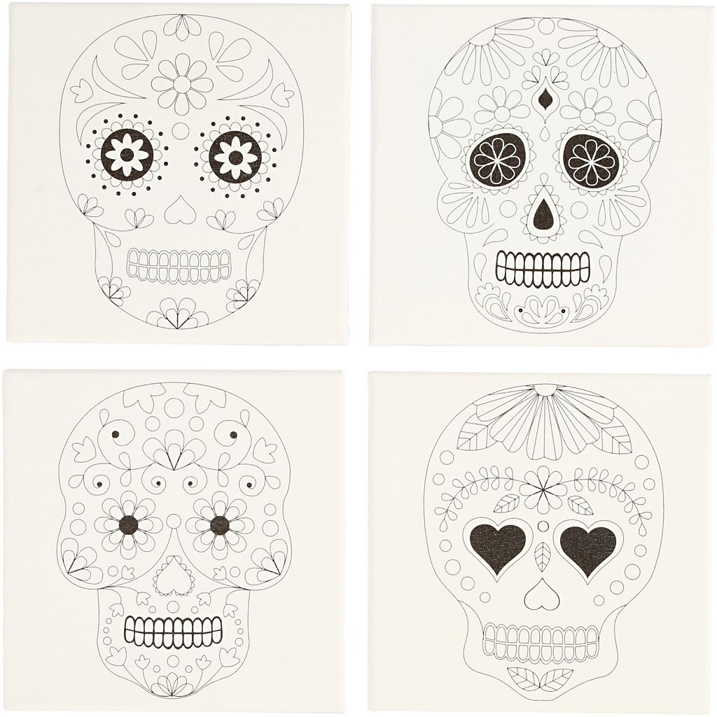 Paint Your Own Canvas Print Kit- Skull Design